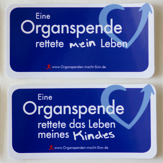 Variante: Eine Organspende rettete mein Leben und Variante: Eine Organspende rettete das Leben meines Kindes